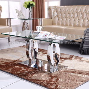 Square Marble Top Tempered Glass Coffee Table pictures & photos