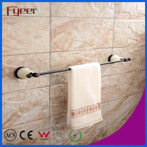 Fyeer Ceramic Base Black Bathroom Accessory Brass Towel Bar pictures & photos