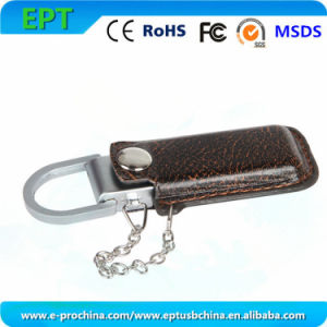 Embossed Logo Leather Flash Disk USB Drive for Promotion (EL006) pictures & photos