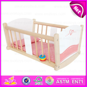 Best Sale Pretend Play Wooden Doll Bed/Wooden Rocking Crib/Wooden Baby Doll Crib W06b036 pictures & photos
