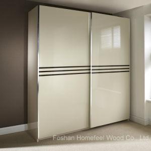 Wonderful Ivory Colour High Gloss Sliding Wardrobe (HF-EY0829) pictures & photos