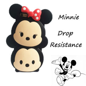 DOT Bow Double Doll Cute Minnie Silicone Phone Case for Samsung Galaxy S6 S5 S6edge