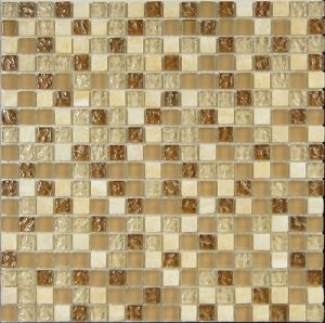 Wheat Color Glass with Stone Decor Mosaic Wall Tile pictures & photos