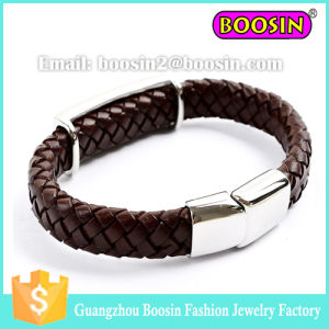 Fashion Men′s Paracord Energy Braided Leather Bracelet with Magnetic Closer pictures & photos