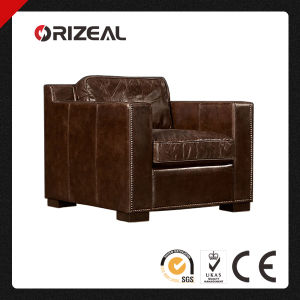 Orizeal 1930s Deco Design Collins Nailheads Genuine Leather Chair (OZ-LS-2022) pictures & photos