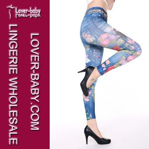 Hot Sell Printed Tights Fake Jeans Seamless Women Leggings (L97032-2) pictures & photos