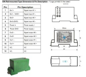 DIN 1X1 / 2X2 DIN Rail-Mounted (FV/I) Non-Isolation Transmitter DIN 1X1 Sy F1-P1-O 8 pictures & photos