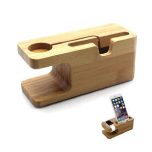2 in 1 Handmade Wood Stand for Apple Watch, Mobile Phone Stand Wood for iPhone for Samsung