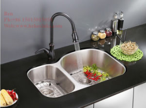 "20-1/2""X34"" Stainless Steel Under Mount Double Bowl Kitchen Sink with Cupc Approved pictures & photos"
