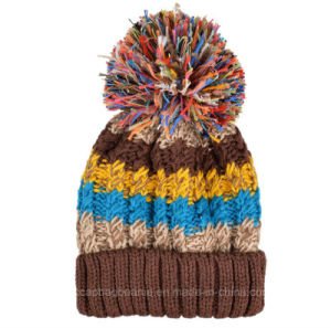 Fashion Multi Color Laides Knitted Pompom Warm Beanie Hat pictures & photos