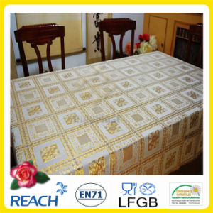 Golden PVC Lace Tablecloth in Roll Factory pictures & photos