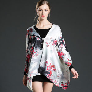 Plum Blossom Design Digital Printing Scarf Shawl with Buttons pictures & photos