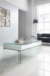 Small Hot Bending Glass Side Table with White Drawers pictures & photos