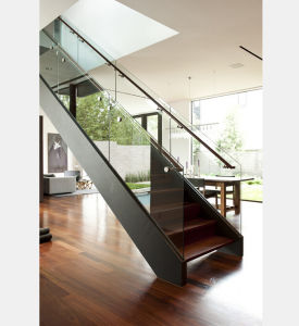 Indoor Glass Railing Stainless Steel Straight Staircasse Design pictures & photos