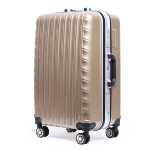 Brown Wave Moulding Durable Travel Luggage/Suitcase/Trolley Bag Set pictures & photos