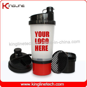 New Design 700ml Plastic Protein Shaker Bottle with Compartment on Bottom and Pillbox in Lid, BPA Free (KL-7001) pictures & photos