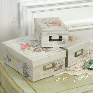 Printed Paper Nested Storage Boxes with Metal Label Holder pictures & photos