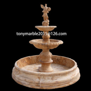 Three Level Beige Stone Sculpture Water Fountain (SY-F004) pictures & photos