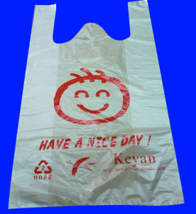 HDPE Plastic White T-Shirt Bag with Print pictures & photos