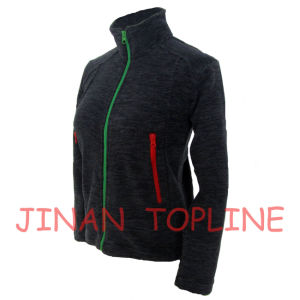 Children Black Cationic Micro Fleece Spandex Fiber Stitching Color Casual Jacket pictures & photos