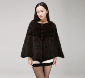 Women′s 100% Genuine Mink Fur Knitted Shawl Coat pictures & photos