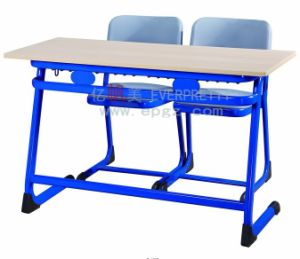 School Desk and Chair for Study Room/Wooden Double School Desk /Cast Iron Table and Chair pictures & photos