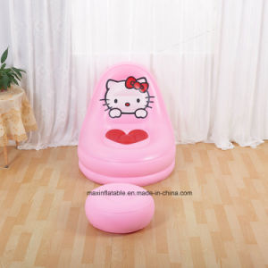 Indoor Living Room Furniture Inflatable Flocked PVC Lazy Air Sofa with Carton pictures & photos