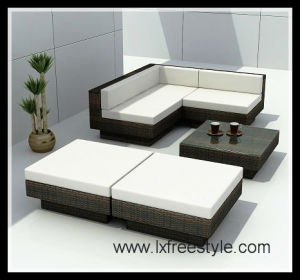 Outdoor Garden Sofa Set / UV-Resistant PE Rattan Furniture (SF-019)