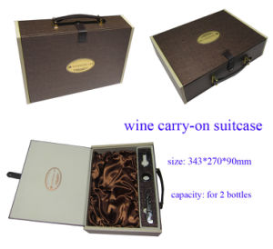 Customized Cardboard Wine Box with Leather Handle for Two Bottles pictures & photos