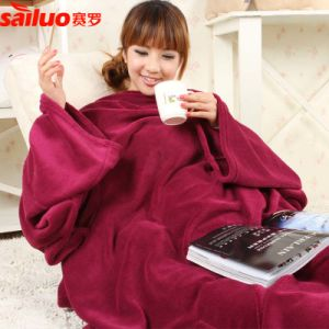 Snuggle Fleece Throw Sleeves Blanket with Pockets