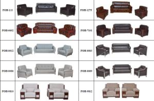 Italian Leather Sofa Office Meeting Room Sofa Set (FOH-8083) pictures & photos