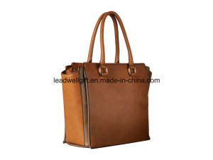Dual Rolled Carrying Handles Leather High Quality Handbags Lady Bag pictures & photos