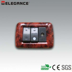 Hot Sale Italian 3 Module Wall Switch and Socket pictures & photos