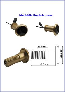 Wireless 5.8GHz CCTV Mini Door Camera (13.8mm diameter, brass, door peephole size, 24chs, 100m transmitting range) pictures & photos