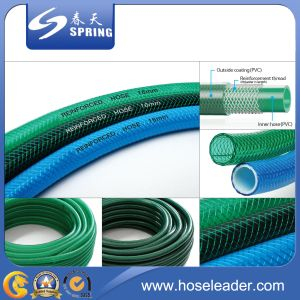 PVC Plastic Flexible Fiber Braided Reinforced Water Hydraulic Garden Irrigation Pipe Hose with Fitting pictures & photos