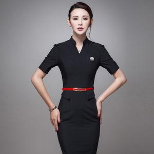 Fancy Design One-Piece Navy Blue Slim Fit Career Women Dresses pictures & photos