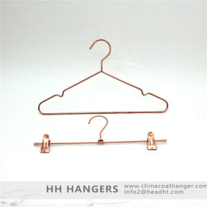 Copper Brass Metal Wire Clothes Hanger and Bottom Clips Hanger pictures & photos
