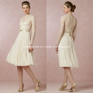 Lace Long Sleeve Bridal Gowns Knee-Length Chiffon Wedding Dresses Z9022 pictures & photos