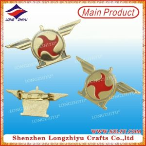 Gold Plated and Red Fan Design Metal Embossed Pin Badge with Good Quality pictures & photos