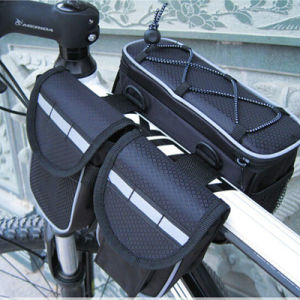 Waterproof Front Tube Bicycle Frame Bike Bag with Double Pannier