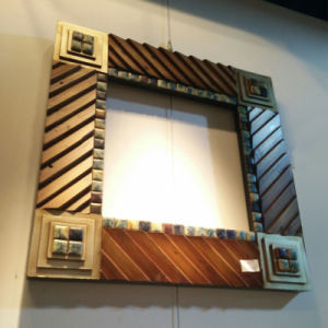 Home Decoration Wooden Mosaic Mirror Frame Factory (LH-000524) pictures & photos