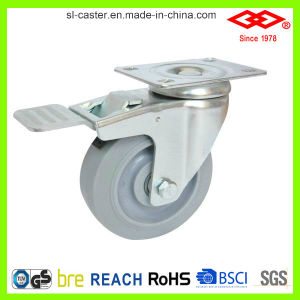 5 Inch Swivel Locked Rubber Wheel Castor (P120-34FK125X32S) pictures & photos