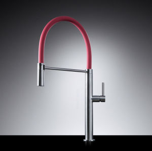 Brushed Nickel PVD Red Pipe Single Lever Kitchen Faucet pictures & photos