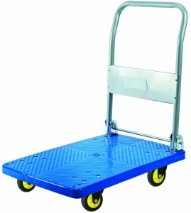 300kg Black Plastic Platform Hand Truck Foldable Noiseless Trolley pictures & photos