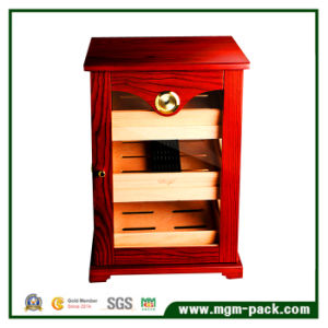 Red Finish Cigar Humidor Cabinet with Safe Lock pictures & photos