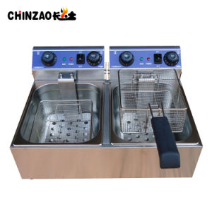 10L Double Electric Deep Fryer Chip Oil Healthy Temperature Timer pictures & photos