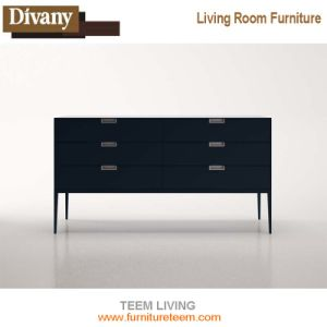 Modern Simple TV Stand, Walnut Wood Veneer TV Cabinet pictures & photos