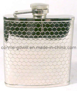 2.5oz Stainless Steel Hip Flask With Honeycombed Design