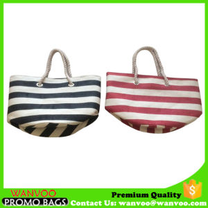 Stripe Canvas Beach Bag with Rope Handle pictures & photos