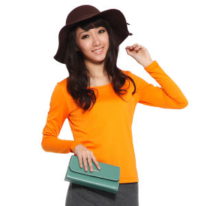 Long Sleeve Round Neck Cotton T-Shirt for Women pictures & photos